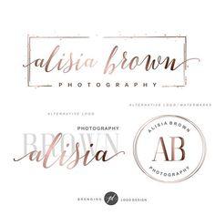Rose gold design Branding package Photography logo package #photographylogos,