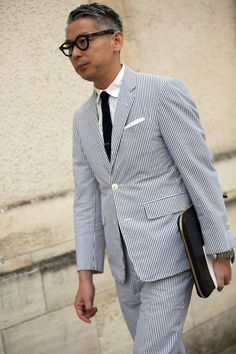 Light Blue single breasted seersucker suit great for the summer.