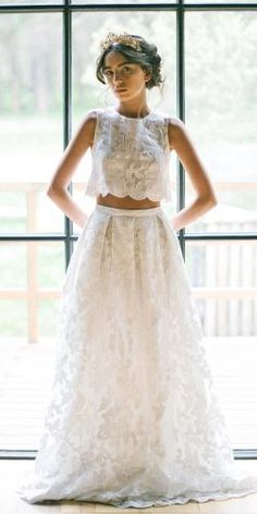 On Trend: 24 Bridal Separates And Breaking The Rules ★ separates lace weddindg dresses Wedding Seperates, Wedding Dress Separates, Two Piece Wedding Dress, Bridal Separates, Bohemian Wedding Dresses, Bridal Dresses, Flower Girl Dresses, Casual Wedding, Wedding Wear