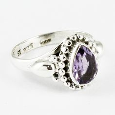 VERY LIGHT WEIGHTED !! Amethyst Stone Beautiful Designed 925 Sterling Silver Rings Size 7US by JaipurSilverIndia on Etsy