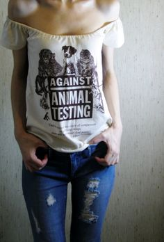 against animal testing offshoulder beautiful shirt by MoonEuphoria, $30.00