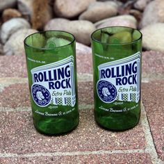 Rolling Rock 8 ounce novelty glasses made from beer bottles. Perfect for the MAN CAVE by pic76, $12.00