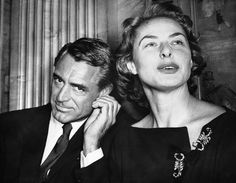 Cary Grant at a press conference with Ingrid Bergman - London, 1957