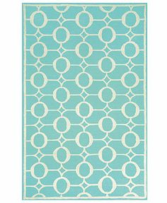 Liora Manne Area Rug, Indoor/Outdoor Promenade 2117/04 Arabesque Aqua 2' x 8' Runner Rug