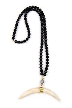 Black Double Horn Necklace – Ingrid Ysla - $210