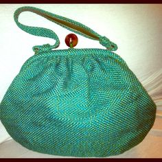 Vintage Hobo This green gem is just in time for Spring! Woven pastel like green hobo purse with lucite like brown closure. Excellent condition Bags Hobos