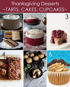 Thanksgiving Cakes, Tarts, and Cupcakes plus 20 other Thanksgiving desserts