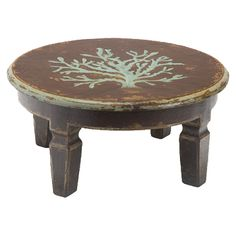 Black Coffee Table with Blue Coral Motif