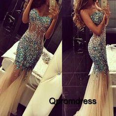 shining blue silver sequins tulle mermaid evening dress long prom dress - QPromDress