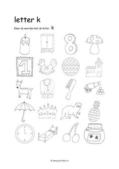 Werkbladen - taal - letters leren ~ Juf Milou Drawing Lessons For Kids, I Love School, Preschool Writing, Letter Of The Week, Artsy Photos, Letter K, School Posters, Alphabet Worksheets, Teacher Hacks