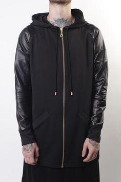 Leather sleeve hoodie