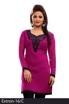 Pink 60 grams Chiffon Georgette Embroidered Kurti - Chiffon Kurtis / Tunics Manufacturer & Exporter | Kurtisindia