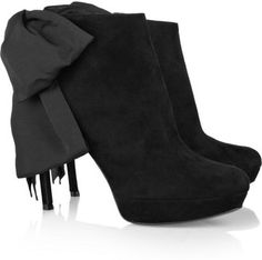 ShopStyle: Alexander McQueen Bow-embellished suede boots