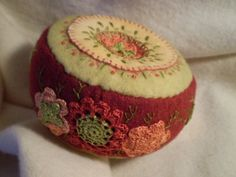 Rust and Orange Flowers Pincushion by manitobagifts on Etsy, $39.00