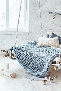 Chunky Knit Merino Wool Blanket | KalaiiCreations on Etsy