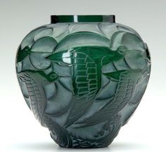 "René Lalique (1860-1945), Glass Vase, ""Courlis,"" deep green."