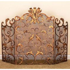 Antique Gold Acanthus Leaf Accent Fireplace Screen Dr Livingstone I Presume Screens Firepl
