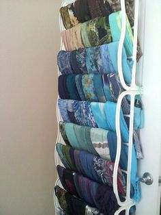 5 great ideas for organizing your hijabs hijab fashion scarf rack organization storage and display . Clothes Hanger Storage, Scarf Storage, Clothing Storage, Storage For Scarves, Shoe Hanger, Shoe Racks, Towel Hanger, Diy Clothing, Scarf Organization