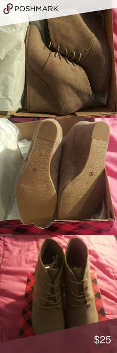 Wedge shoe Size 8  lace up wedge shoe. Never been worn Shoes Wedges