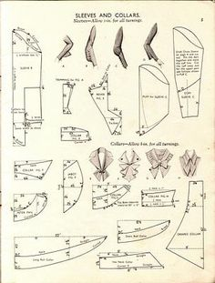 Sleeves and Collars Pattern Drafting Vintage by vivian Techniques Couture, Sewing Techniques, Pattern Cutting, Pattern Making, Vintage Sewing Patterns, Clothing Patterns, Sewing Sleeves, Sewing Alterations, Diy Couture