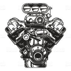 Isolated monochrome illustration of car engine royalty-free isolated monochrome illustration of car engine stock vector art & more images of engine Motor Tattoo, Service Auto, Car Repair Service, Custom Baggers, Carros Turbo, Service Design, Engine Tattoo, Car Tattoos, Ex Machina