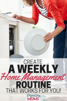 Create a weekly home management routine that works for you and your family. Get the printable planning sheets to start making your own routine! Home Management Binder, Time Management Tips, House Management, Clean House Schedule, Organized Mom, Cleaning Hacks, Organizing Tips, Cleaning Routines, Organising