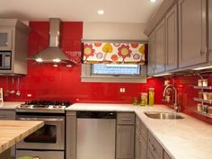 Image result for kitchen white red and grey
