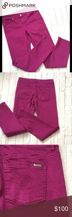 WHBM Slim Ankle Purple/Pink Jeans Size 2R Waist 14.5 Rise 8 Inseam 29.5. White House Black Market Jeans Ankle & Cropped