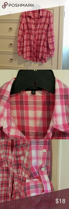 Express Tunic Super cute, plaid pattern, cinched at waist, sleeves can be rolled up or left down, gently worn, excellent condition Express Tops Tunics