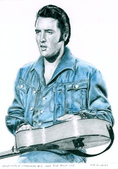 The last Elvis drawing for 2013! Jumpsuits and Stagewear #6, 1968 Blue Denim Suit. 14 x 19 cm. Pencil and Colored pencil on Bristol board. For sale. www.elvis-art.com