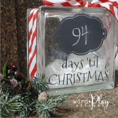 Glass block chalkboard countdown til Christmas! Sign up for our monthly craft idea:  http://www.wordplaydesigns.net/#!wp-newsletter/c1zmd