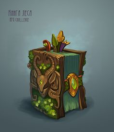 Jeronimus&Co - RPG challenge artworks on Behance - Game Art Prop Design, Game Design, 2d Game Art, Hand Painted Textures, Game Props, Game Concept Art, Magic Book, Fantasy Weapons, Environmental Art