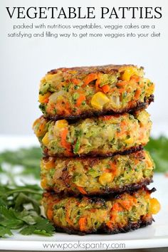 Crispy, easy veggie cakes made with grated vegetables – carrots, zucchini, broccoli and corn. Great for lunches, side dish or your small picky eaters. Fluffy Vegetable Cakes perfect for a side or a Meatless Monday meal Tasty Vegetarian Recipes, Good Healthy Recipes, Baby Food Recipes, Whole Food Recipes, Vegaterian Recipes, Red Lentil Recipes, Leek Recipes, Vegetarian Meals For Kids, Carrot Recipes