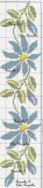 64 best Ideas for embroidery flowers border punto croce Cross Stitch Bookmarks, Cross Stitch Borders, Cross Stitch Flowers, Cross Stitch Charts, Cross Stitch Designs, Cross Stitching, Cross Stitch Embroidery, Embroidery Patterns, Cross Stitch Patterns