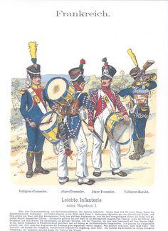 Band XIII #24.- Frankreich. Leichte-Infanterie unter Napoleon I. Trommler. Hornist.