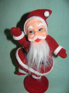 AND I have one of these lol Vintage 1960's Velvet Covered Santa Claus, Table Decor, Retro 60's Father Christmas Decoration classic