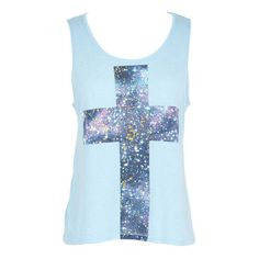 Galaxy Cross Lace-Back Tank ($7.99) ❤ liked on Polyvore featuring tops, shirts, tank tops, tanks, galaxy tank top, galaxy shirt, blue shirt, blue tank top and graphic design shirts
