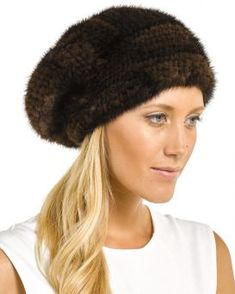 69b4a7e0a0f Mya Brown Knitted Mink Beanie Hat with Elastic Band Fur Hats