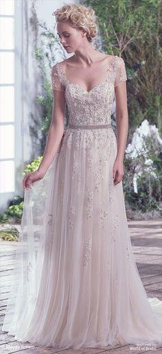 ed7ac46e82f0 Sheer Short Sleeve Beaded Tulle Wedding Dress
