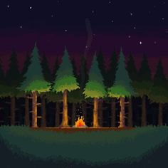 Pixel portfolio piece inspired by a camping spot my friends and I visit every year. Campfire in the Forest Pixel Art Background, Game Background, 2d Game Art, 2d Art, How To Pixel Art, Game Textures, Isometric Art, Pixel Games, Urban