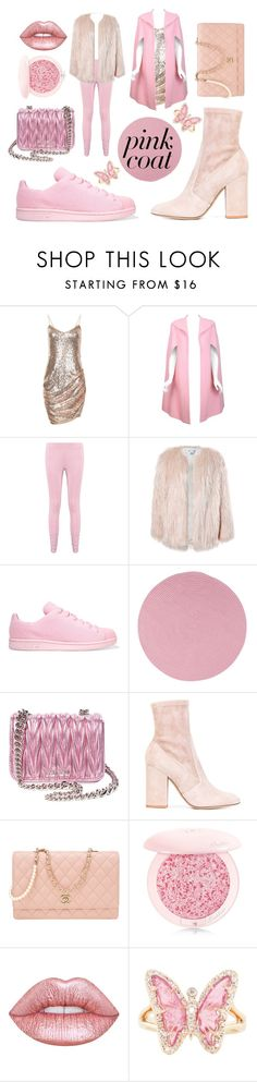 """""""Pink Coat!"""" by kawaiipoduk ❤ liked on Polyvore featuring Pauline Trigère, Boohoo, Sans Souci, adidas Originals, Colonial Mills, Miu Miu, Valentino, Chanel, Guerlain and Lime Crime"""