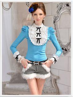 Morpheus Boutique  - Blue White Ruffle Layer Bow Hem Shoulder Shirt , CA$82.04 (http://www.morpheusboutique.com/blue-white-ruffle-layer-bow-hem-shoulder-shirt/)