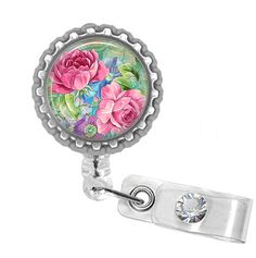 Retractable ID Badge Reel Victorian Roses Bottle Cap Reel Badge ID, Nurse Badge Reel, Bling Badge Reel on Etsy, $7.95