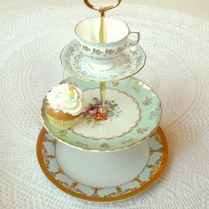 Pale Sky Blue Vintage English China Plates 3 Tier Cupcake Stand, Cake Plate Tray, Mad Hatter Centerpiece Display with Pastel Cup & Saucer or Tiered Alice in Wonderland Macaron Serving Platter for Wedding, Bridal, Baby Shower or Little Boy's Birthday Party by High Tea For Alice