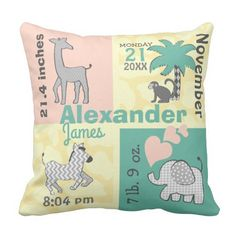 2d50675d698 Jungle Elephant Baby Neutral Birth Stats Throw Pillow Elephant Nursery