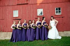 Vintage Fall Wedding - bride and bridesmaids in front of red barn (photo by fusion productions)