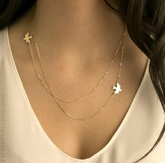 Layered Necklace with Birds / 14k Gold Fill by LayeredAndLong
