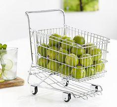 Mini Shopping Trolley Fruit Bowl - Mesh Stacking Shelf | Metal Storage Box | Mesh Storage Basket on Wheels