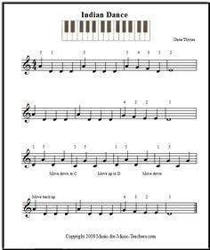 Free sheet music for kids Indian Dance, Music-for-Music-Teachers.com
