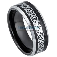 Tungsten Ring Black IP & Stainless Steel Celtic Cut-out Design Inlay Celtic Rings, Celtic Wedding Rings, Wedding Ring Bands, Wedding Band Engraving, Laser Engraving, Cyber Monday, Tungsten Carbide Wedding Bands, Tungsten Rings, Celtic Dragon